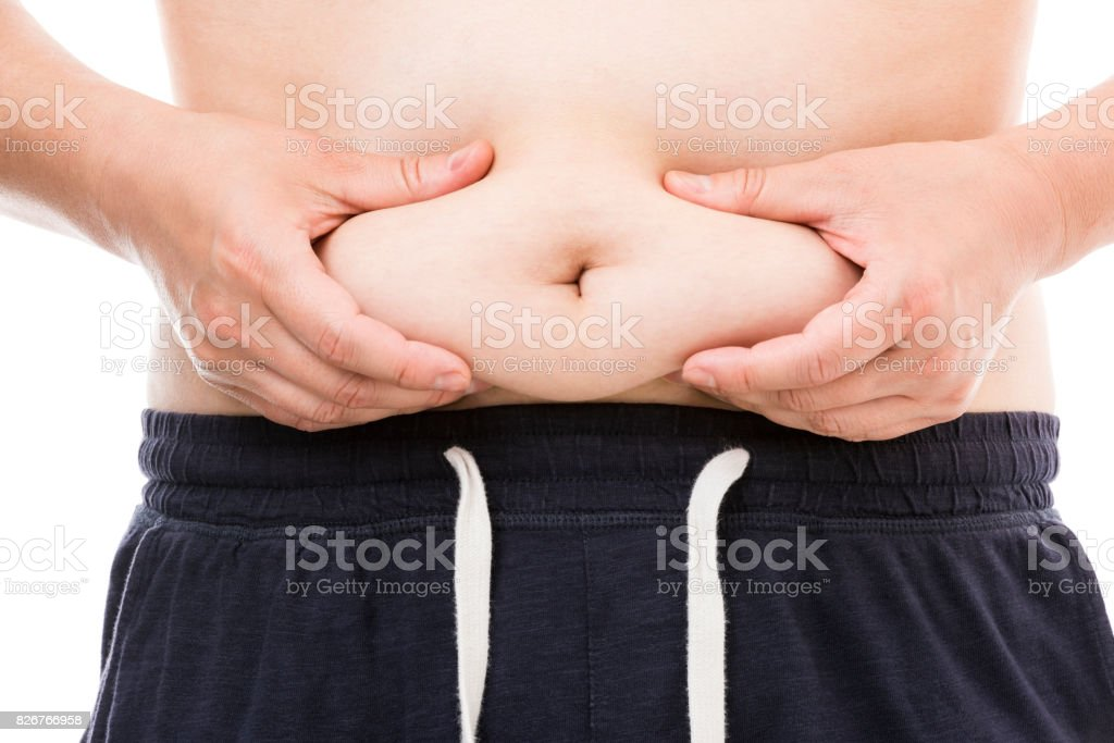 Fat male stomach stock photo