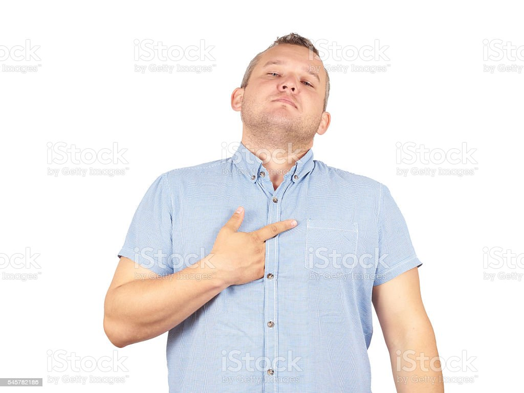 Fat man arrogant bold self important stuck. stock photo
