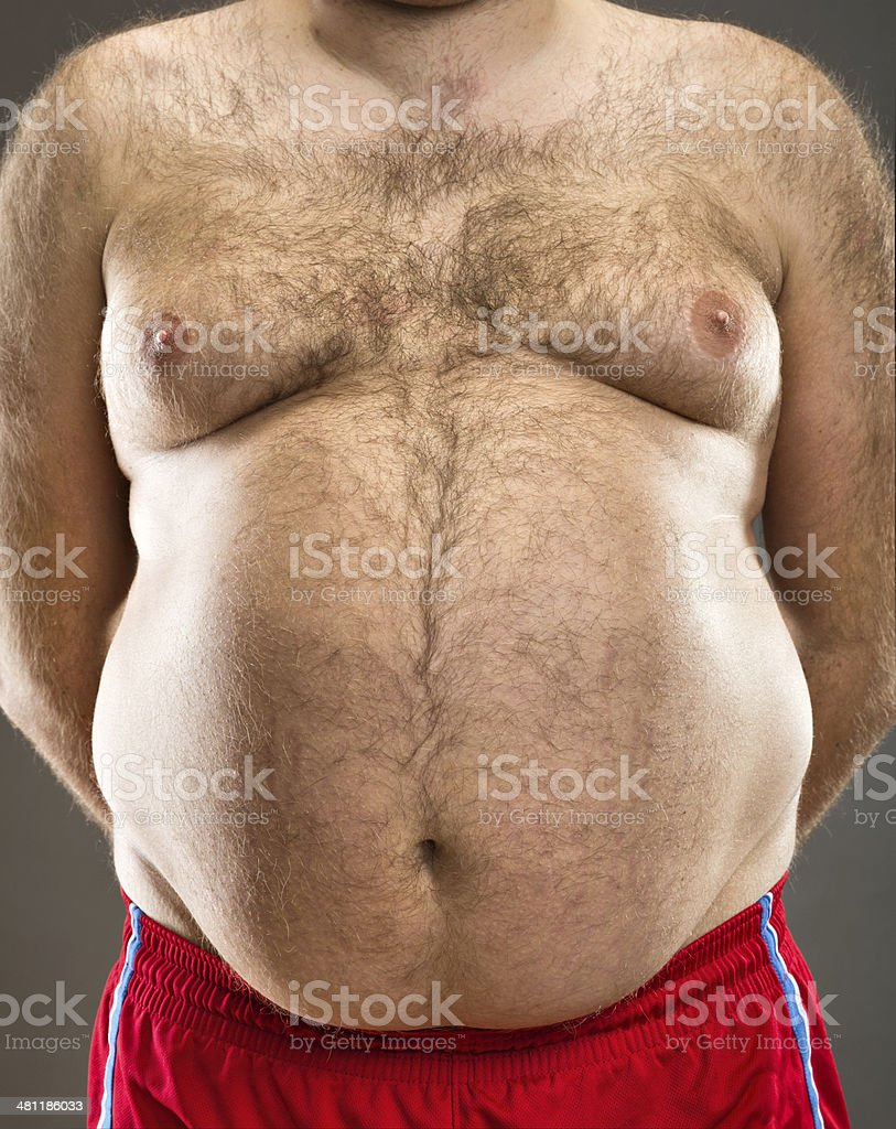Fat man cropped view stock photo