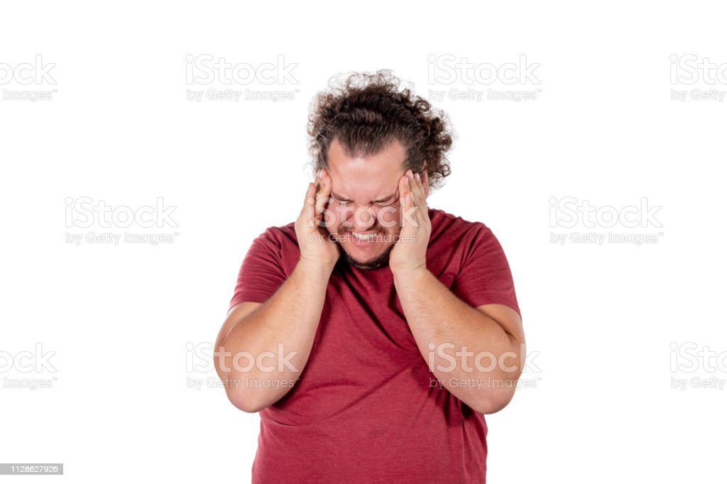 A Fat Man Has High Blood Pressure And Headache Overweight And Health Problems Stock Photo Download Image Now Istock