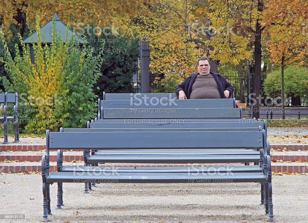 fat man is sitting on a bench in park of stock photo