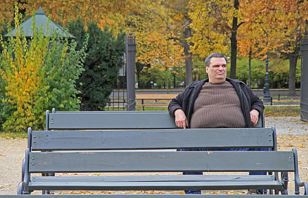 fat man is sitting on a bench in park of - stomach sitting stock photos and pictures