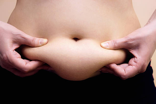 Fat on stomach Obese women shows fat on her stomach, Photography adipose cell stock pictures, royalty-free photos & images