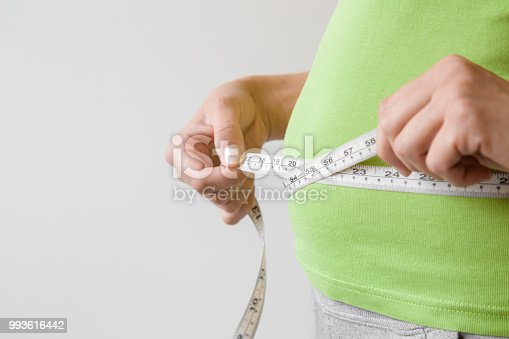1184112328 istock photo Fat overweight woman measuring her waist. Plus size. New start for healthy lifestyle, body slimming and weight loss. Care about body. Copy space. Empty place for text on gray background. 993616442