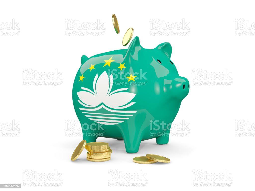 Fat piggy bank with fag of macao stock photo