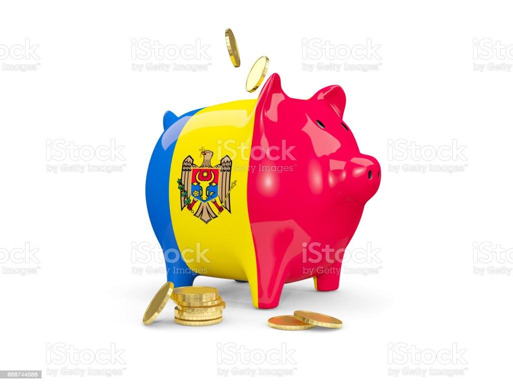 Fat piggy bank with fag of moldova stock photo