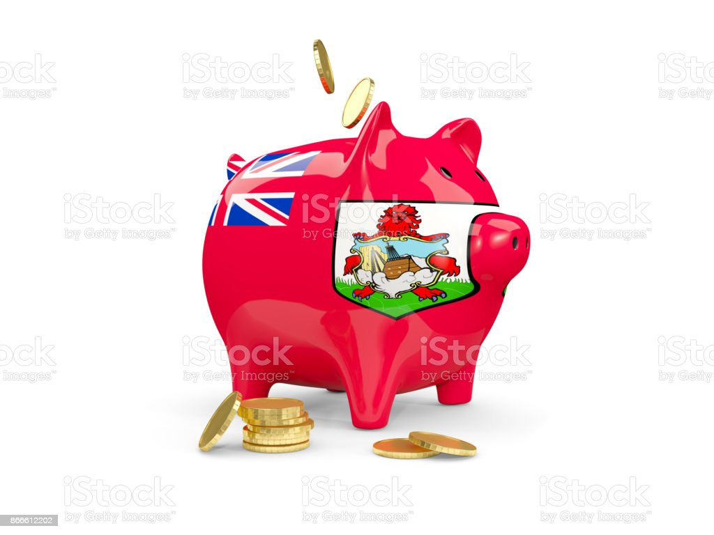 Fat piggy bank with fag of bermuda stock photo