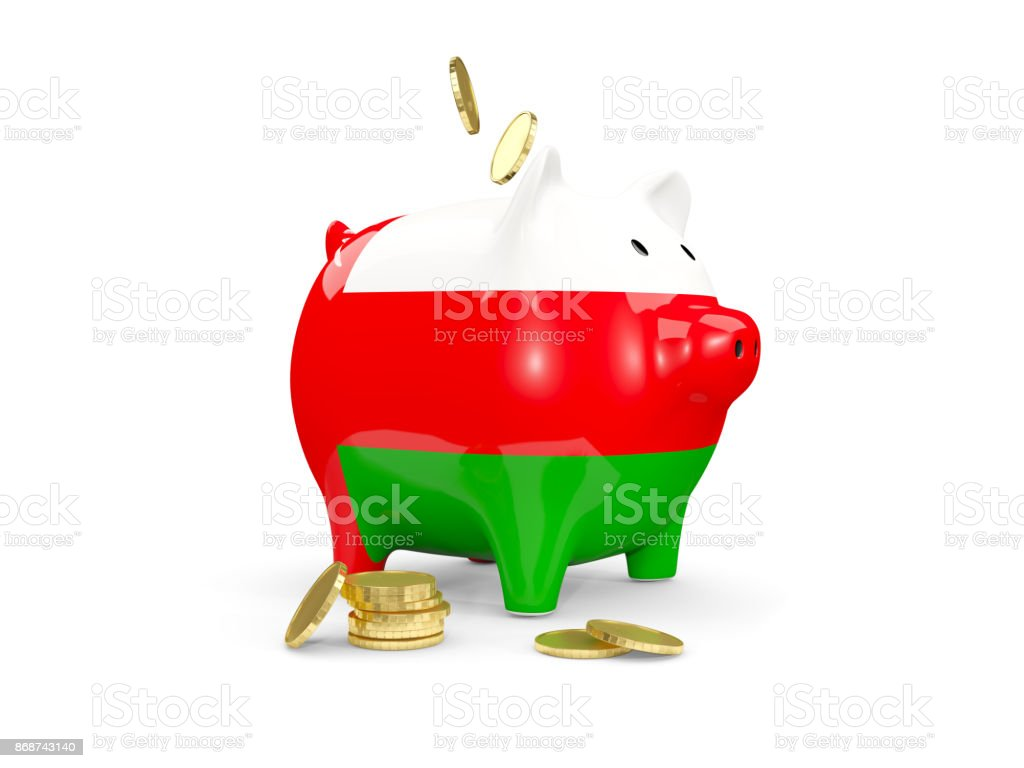 Fat piggy bank with fag of oman stock photo