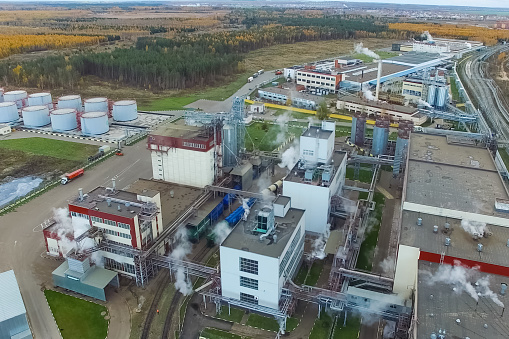 Fat plant. Factory for processing fat and oil. Food industrial production.