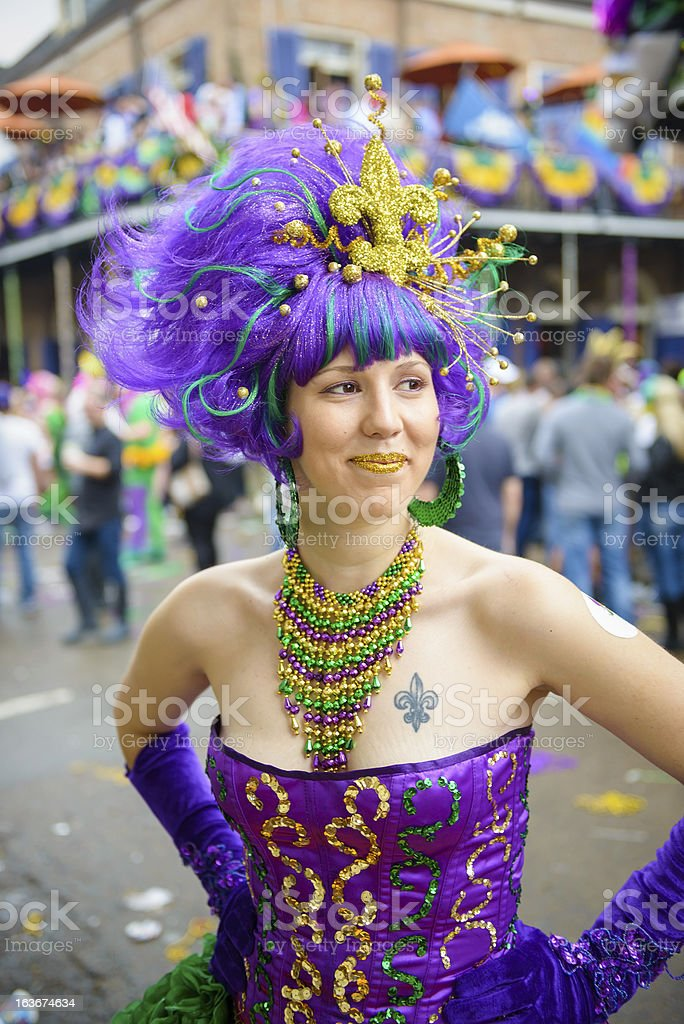 Fat Tuesday costume in New Orleans stock photo