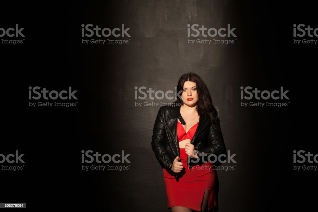 fat woman in red underwear stock photo