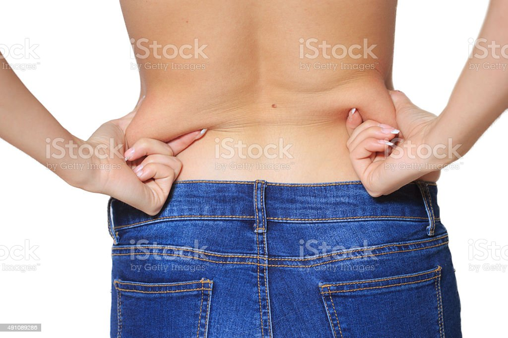 Fat woman isolated over white stock photo