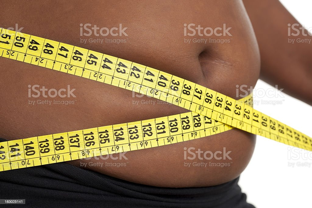 Fat woman measuring her waist. royalty-free stock photo