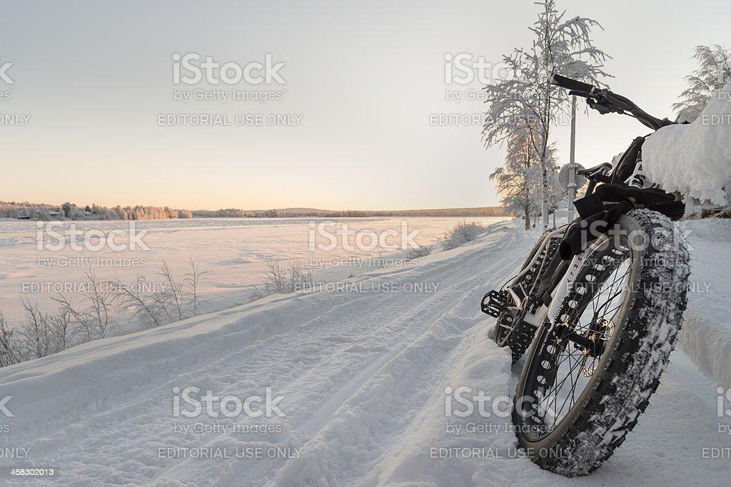 Fatbike in Rovaniemi, Lapland stock photo