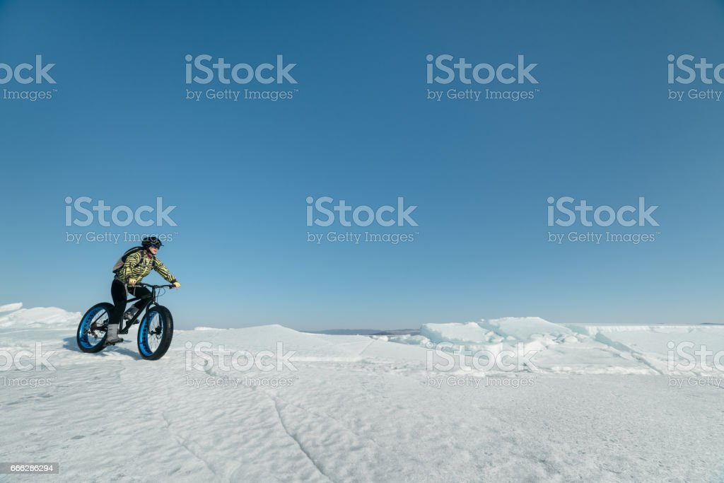Fatbike (fat bike or fat-tire bike) stock photo