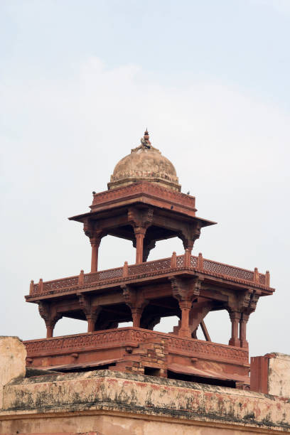Fatehpur Sikri, Agra, India. Agra, Uttar Pradesh / India - February 7, 2012 : An architectural exterior view of the top two tiers with single domed chhatri of Panch Mahal at Jodhabai palace in Fatehpur Sikri, Agra. jodha bai's palace stock pictures, royalty-free photos & images