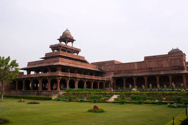 Fatehpur Sikri, Agra, India. Agra, Uttar Pradesh / India - February 7, 2012 : An architectural exterior view of the Panch Mahal a five-storied palatial structure in the courtyard of the Jodhabai's palace in Fatehpur Sikri, Agra. jodha bai's palace stock pictures, royalty-free photos & images