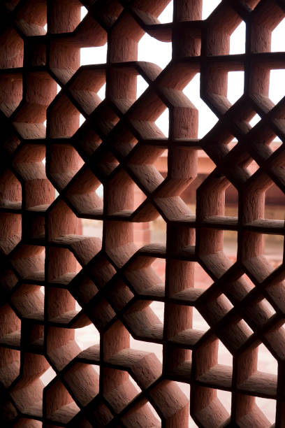 Fatehpur Sikri, Agra, India. Agra, Uttar Pradesh / India - February 7, 2012 : A view of the carved window at the Diwan-E-Khas or Hall of Private Audince in the courtyard of the Jodhabai's palace in Fatehpur Sikri, Agra. jodha bai's palace stock pictures, royalty-free photos & images
