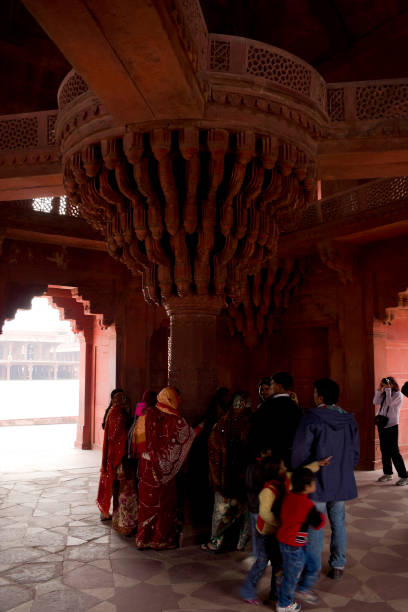 Fatehpur Sikri, Agra, India. Agra, Uttar Pradesh / India - February 7, 2012 : The Interior view of the central pillar of the Diwan-E-Khas or Hall of Private Audince in the courtyard of the Jodhabai's palace in Fatehpur Sikri, Agra. jodha bai's palace stock pictures, royalty-free photos & images