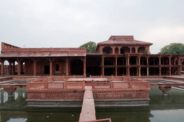 Fatehpur Sikri, Agra, India. Agra, Uttar Pradesh / India - February 7, 2012 : The Anup Talao and the Khwabgah (house of dreams) Akbar's residence in the courtyard of the Jodhabai's palace in Fatehpur Sikri, Agra. jodha bai's palace stock pictures, royalty-free photos & images