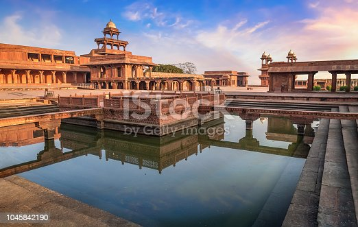 Fatehpur Sikri is a beautifully crafted red sandstone fort city and a classic example of Mughal architecture in India. A UNESCO World Heritage site at Agra, Uttar Pradesh, India.