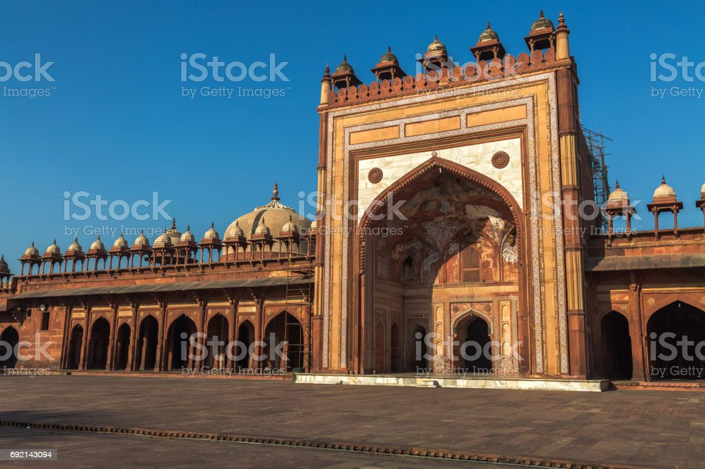 Fatehpur Sikri Jama Masjid mosque - a classic red sandstone architecture of Medieval India. stock photo