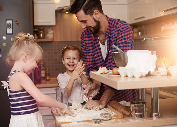 Father always let them be creative stock photo