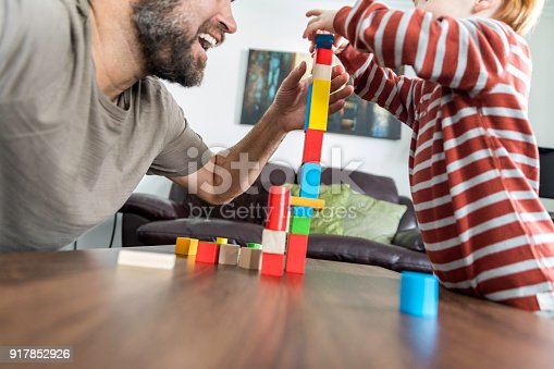 872316662 istock photo Father and Baby Boy Playing with Colorful Blocks 917852926