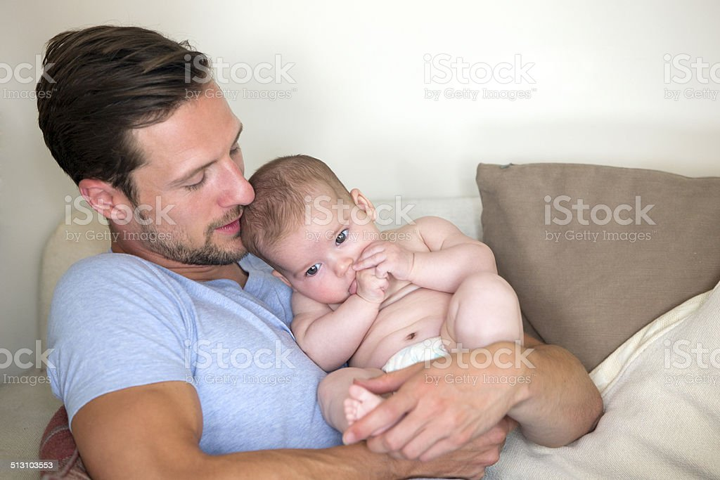 Father and Baby Daughter - Royalty-free 0-11 Months Stock Photo
