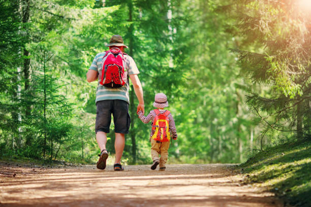 Father and boy going camping with tent in nature stock photo