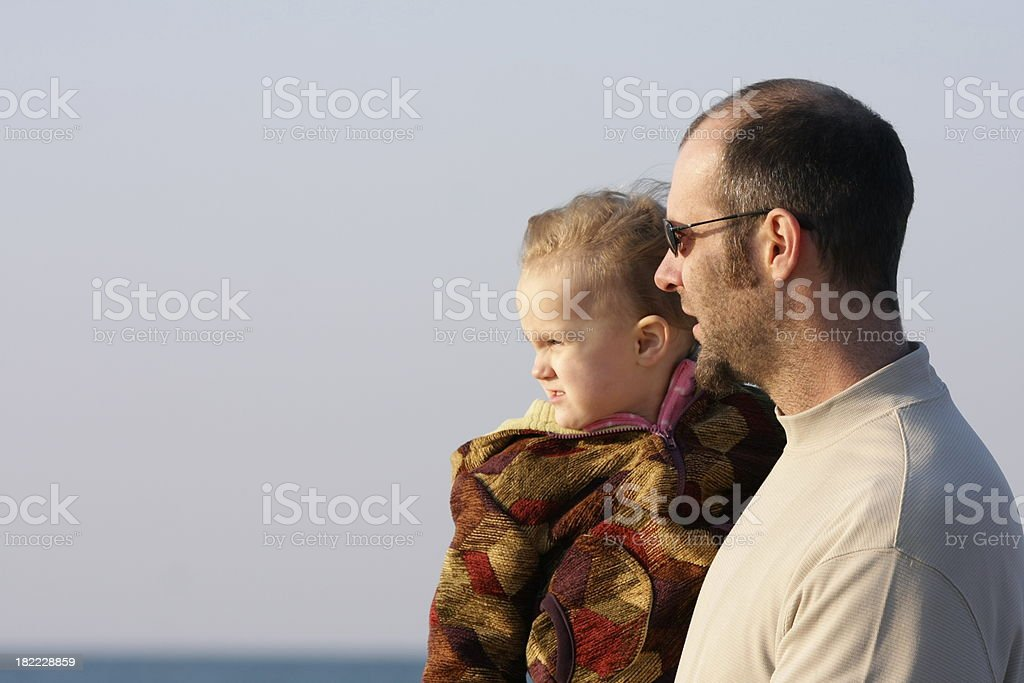 Father and Child at the Beach royalty-free stock photo