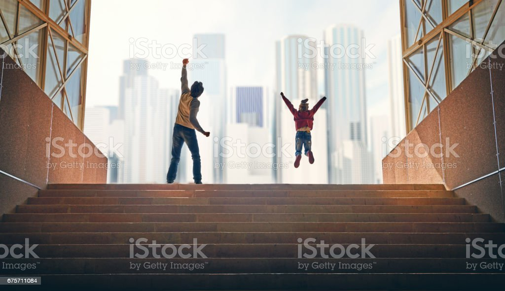 Father and child climb upstairs. royalty-free stock photo