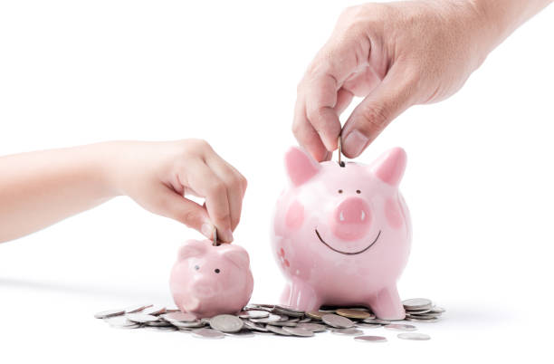 father and child hand put coin to piggy bank isolated stock photo