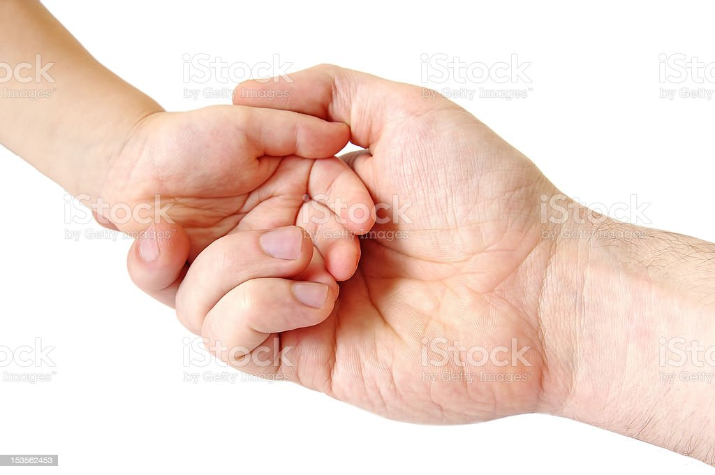 father and child hands; closeup royalty-free stock photo