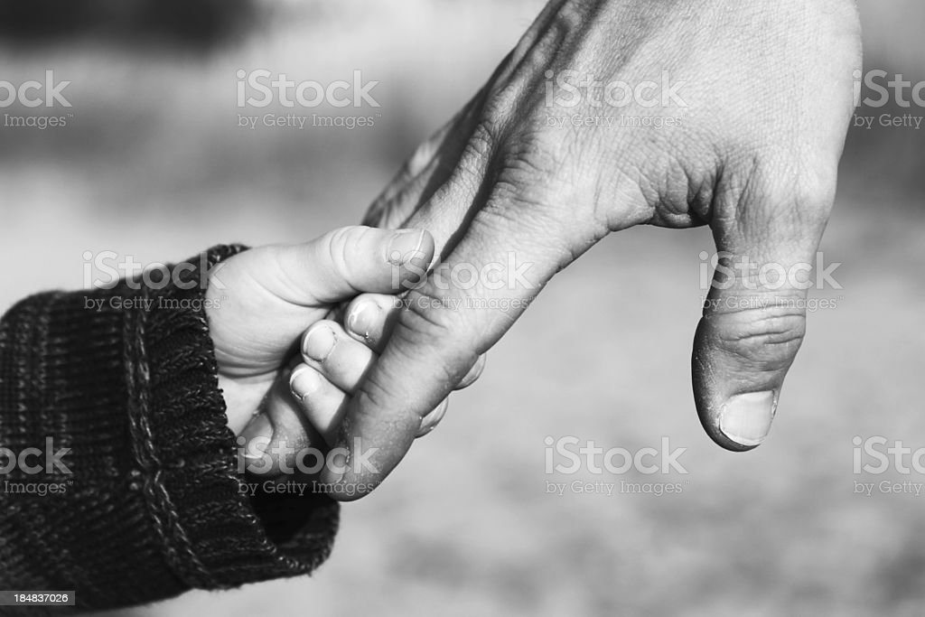 Father and Child Holding Hands stock photo