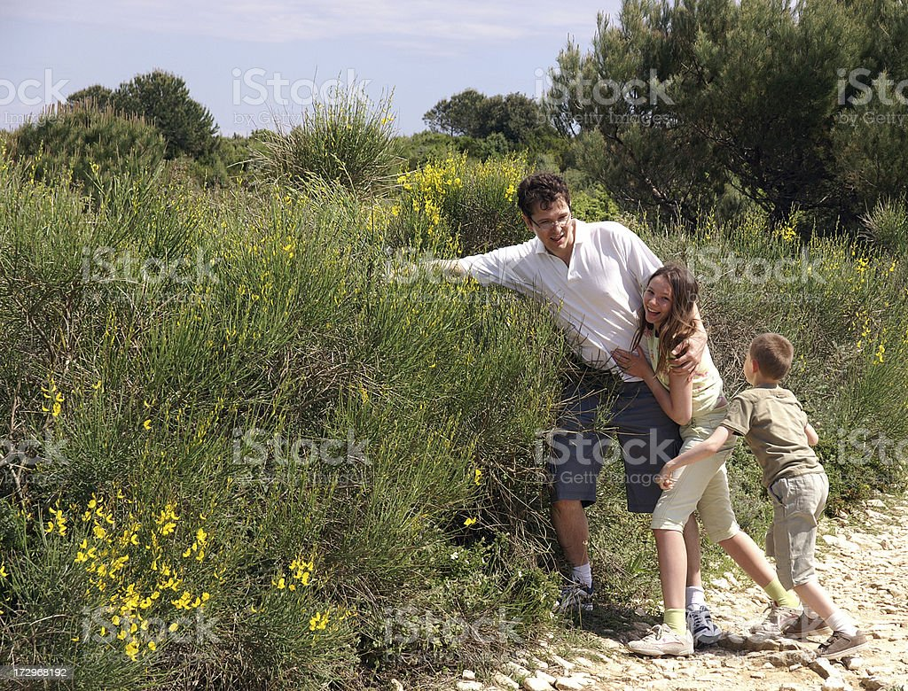 Father and child playing stock photo