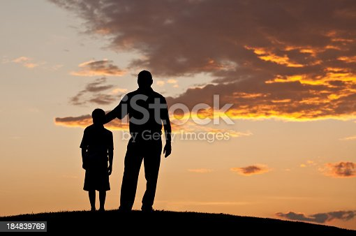 istock Father and Child Silhouette 184839769