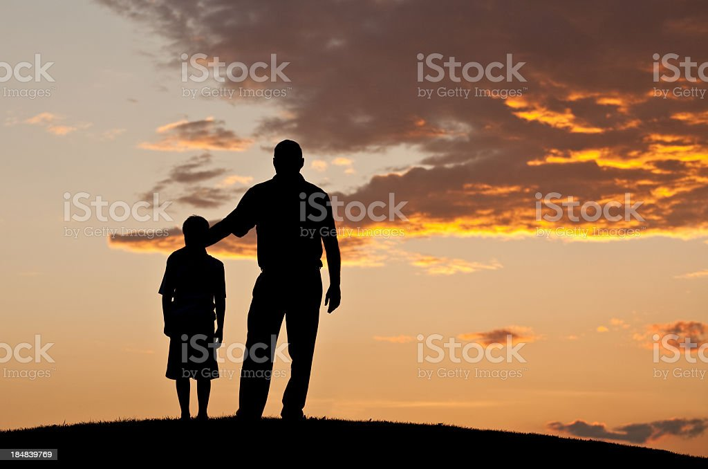 Father and Child Silhouette stock photo