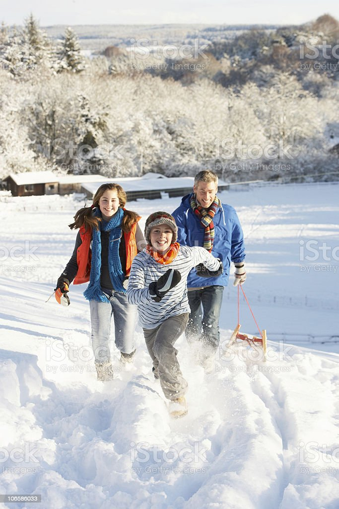 Father And Children Pulling Sledge Up Snowy Hill stock photo