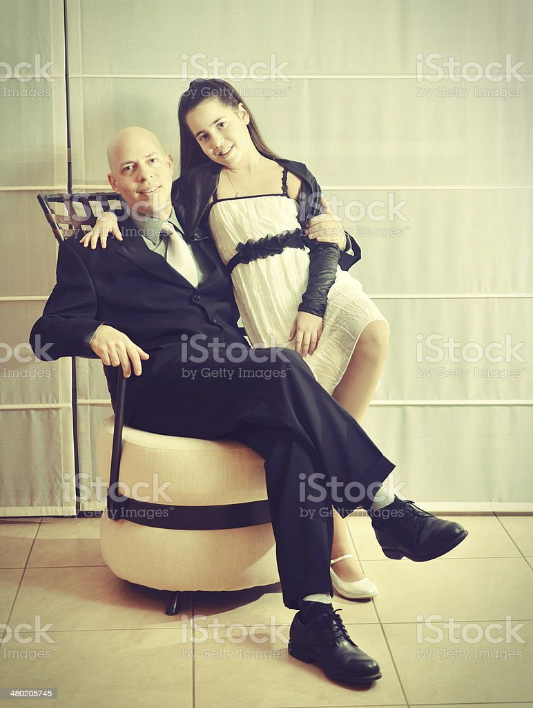 Father and Daughter: a Bat Mitzvah girl stock photo