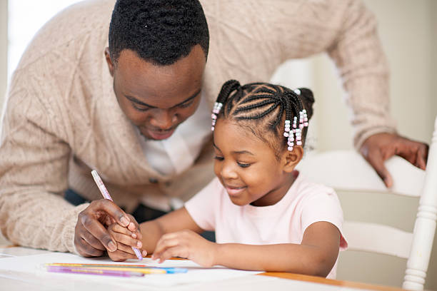 Father and Daughter Arts and Crafts stock photo