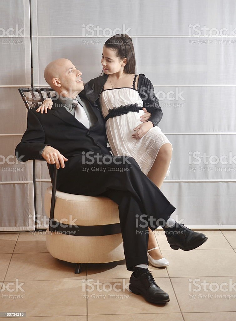 Father and Daughter: Bat Mitzvah stock photo