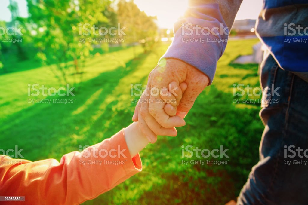father and daughter holding hands at sunset, parenting royalty-free stock photo