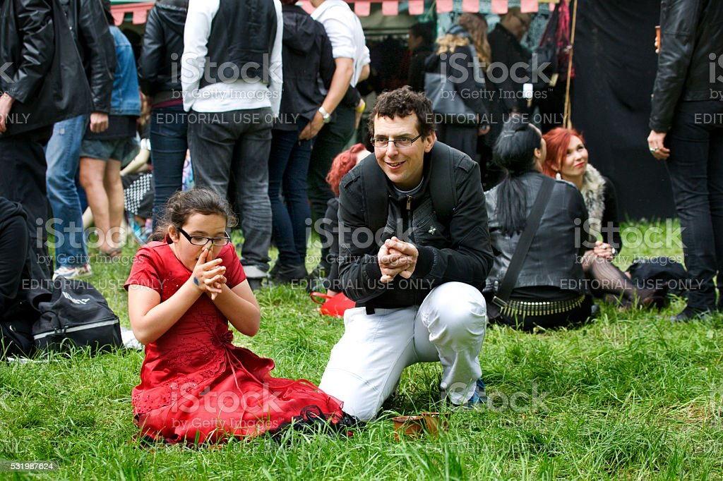 Father And Daughter In Meadow Having Fun On Wgt Leipzig Stock Photo Download Image Now Istock