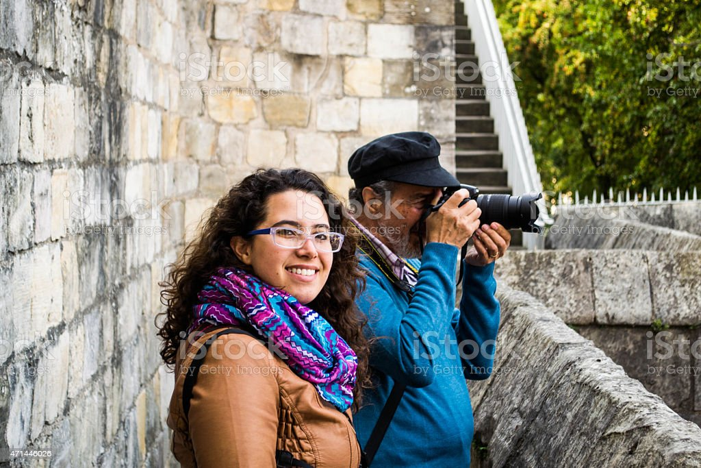 Father and daughter learning photography in York stock photo