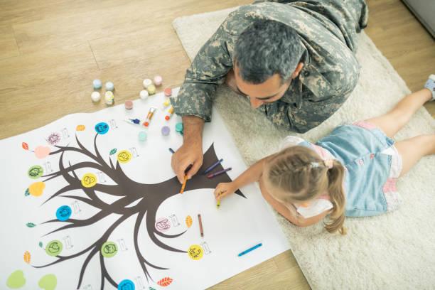父親和女兒躺在地板上,畫家譜 - 族譜 個照片及圖片檔