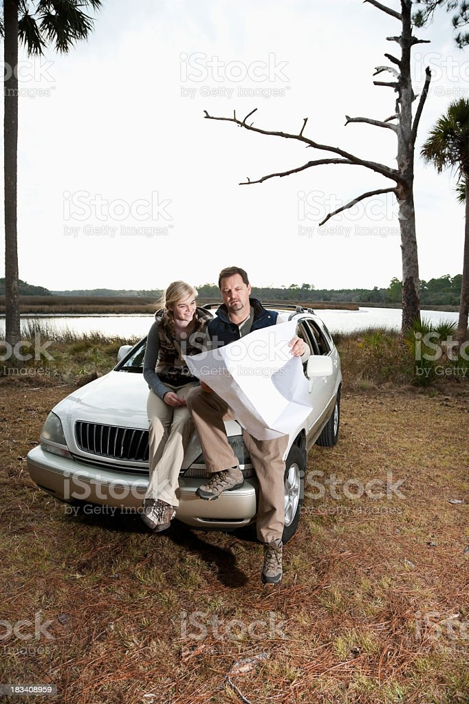 Father and daughter on road trip royalty-free stock photo