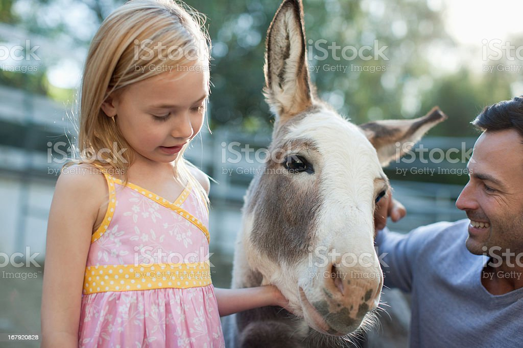 Father and daughter petting donkey royalty-free stock photo