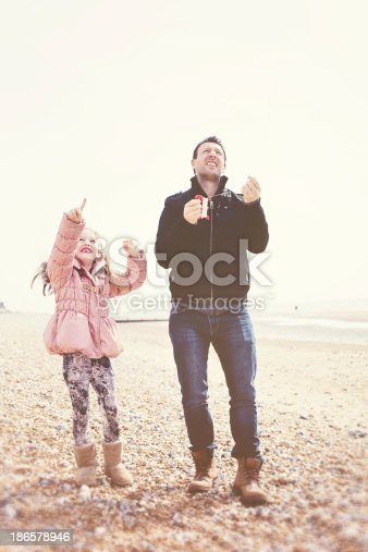 453383283 istock photo Father and Daughter Playing on Beach with Kite 186578946