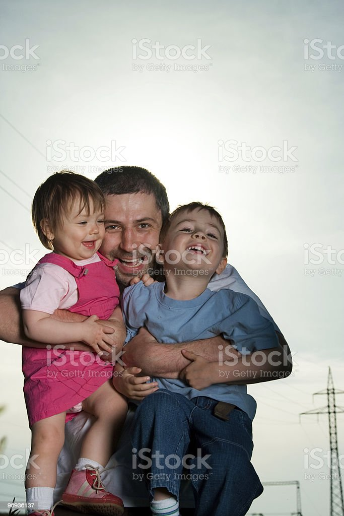 Father and happy children royalty-free stock photo